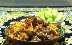 Кукуруза с мясом по-узбекски